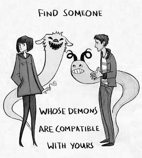 dibujo de demonios alrededor de pareja que discute.