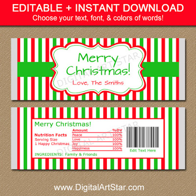downloadable christmas candy bar wrappers for the holidays