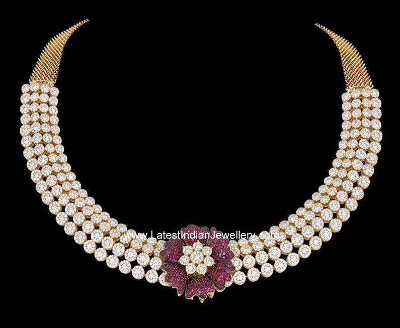 Diamond Choker with Ruby Flower