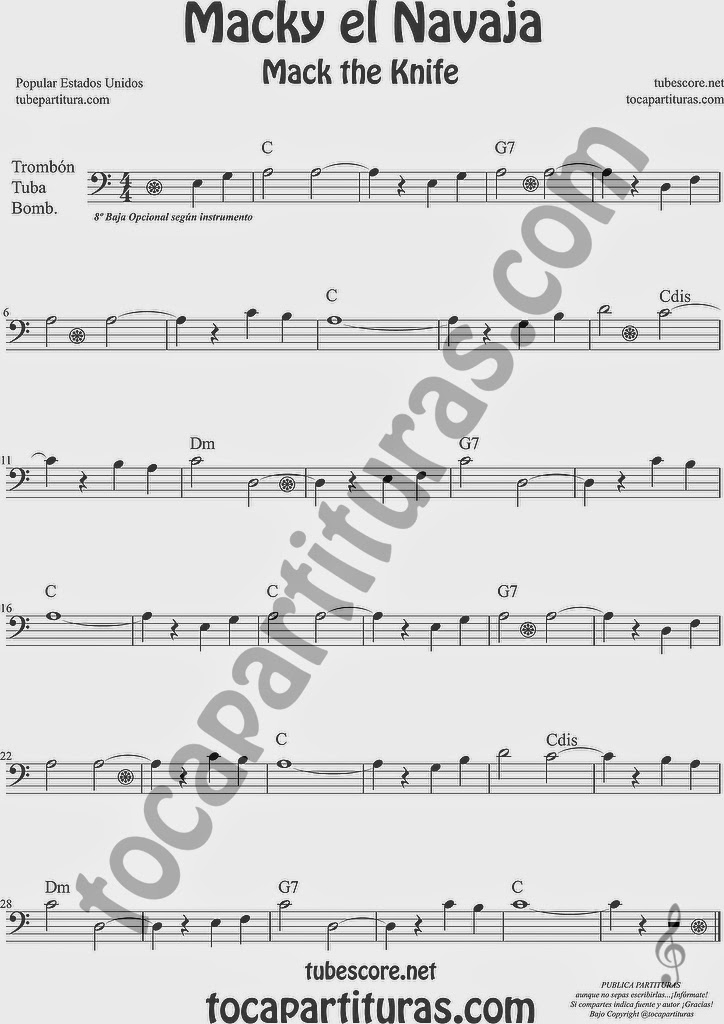 Macky el Navaja Partitura de Trombón, Tuba Elicón y Bombardino Sheet Music for Trombone, Tube, Euphonium Music Scores Mack the Knife