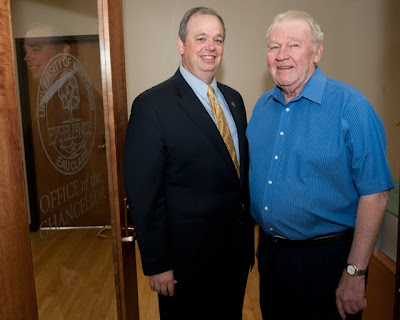 UW-Eau Claire Chancellor James Schmidt and Chancellor Emeritus Larry Schnack