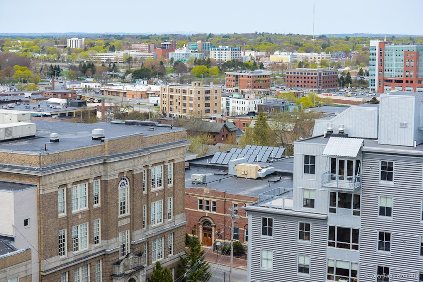 Portland, Maine from City Hall clock tower May 2015 photo by Corey Templeton.