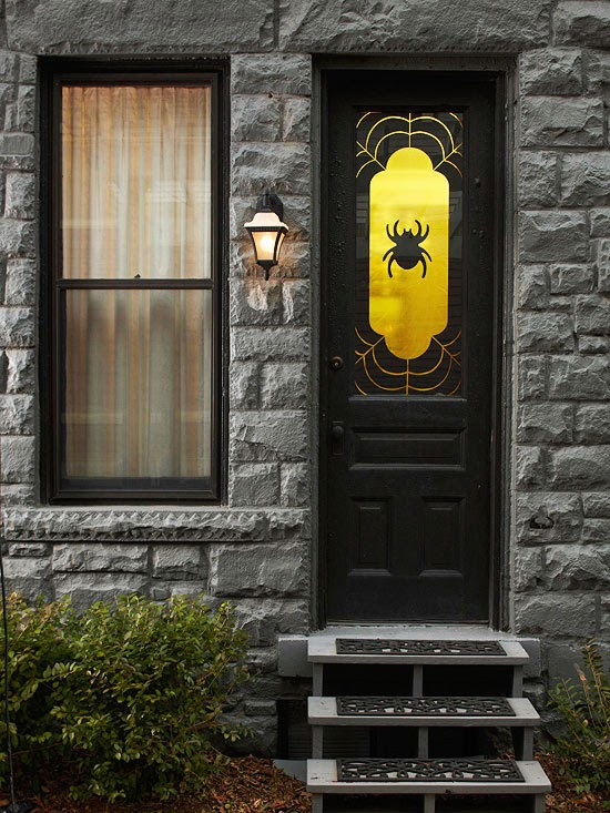 Add a Halloween theme window covering to your front door to welcome the spooky season. Print two copies of our spider and web pattern available below ... & Halloween 2013 Entry Decorations Ideas - interior decorating tips