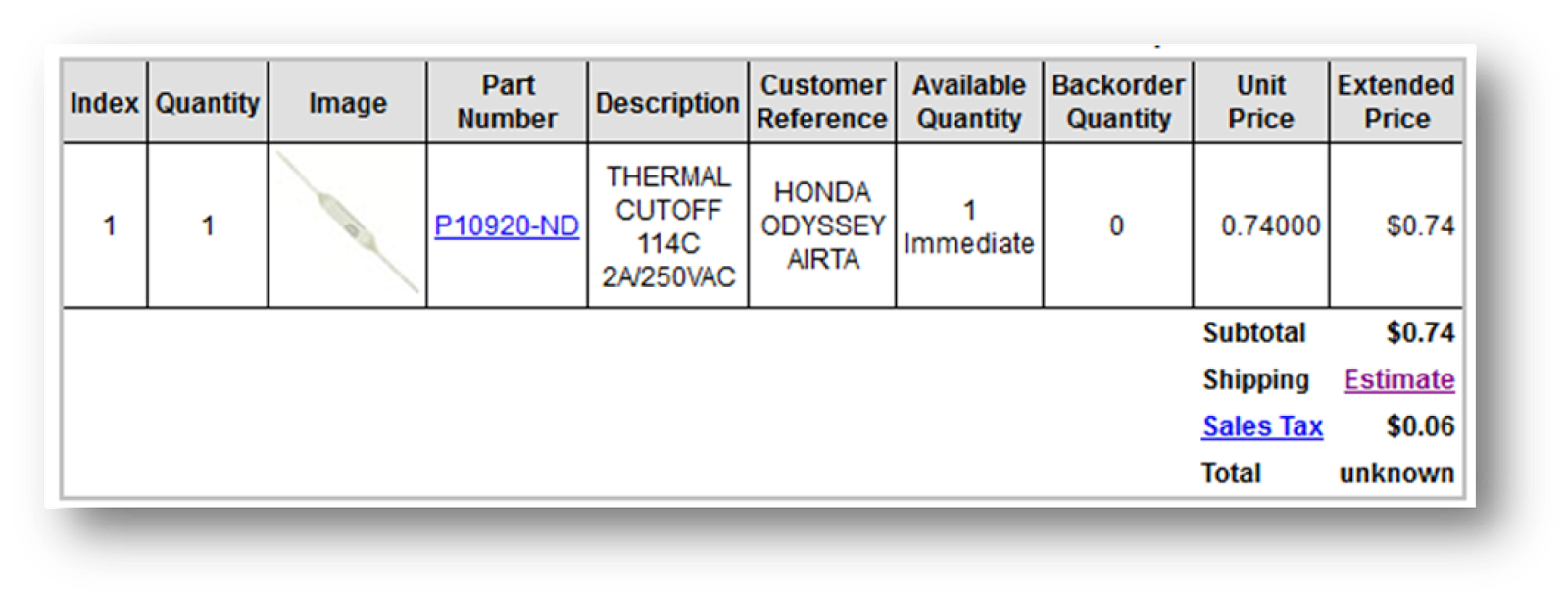 Thermal Cutoff: $0.74 fix for a $75.00 problem: The Thermal Cutoff inside the Honda Odyssey will fix the issue in many airconditioner failures. VS paying $75 for a whole new assembly.