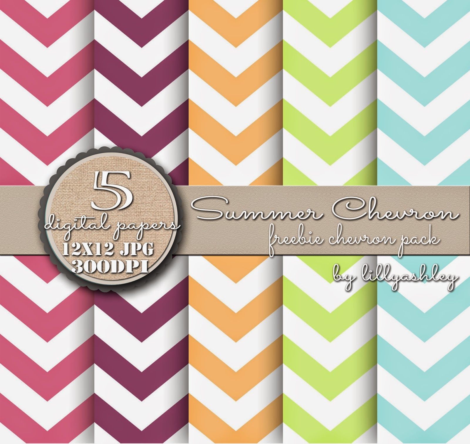 Chevron Summer Colors Digital Paper