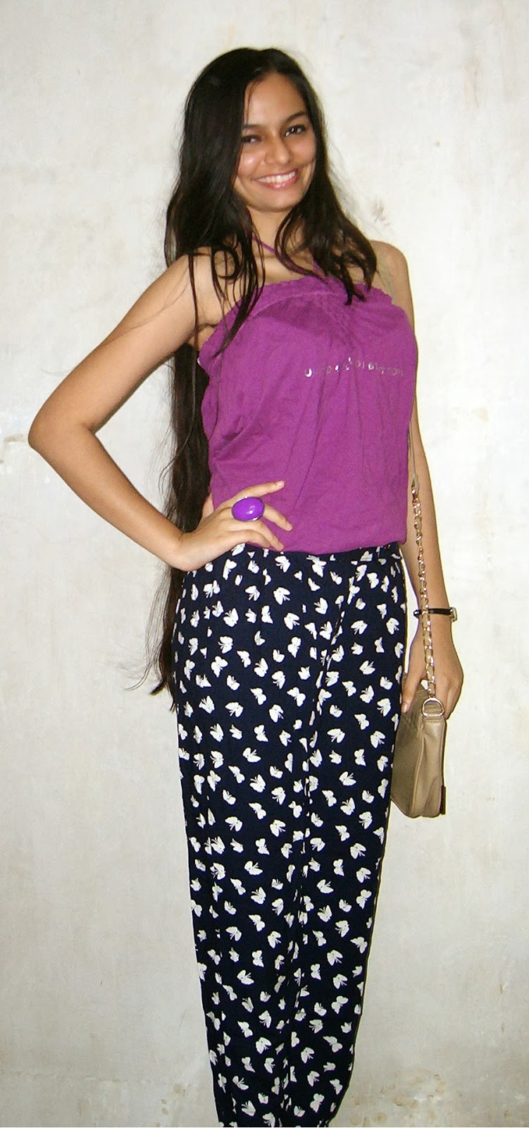 indian fashion blogger, sports luxe, strapless top, printed trousers
