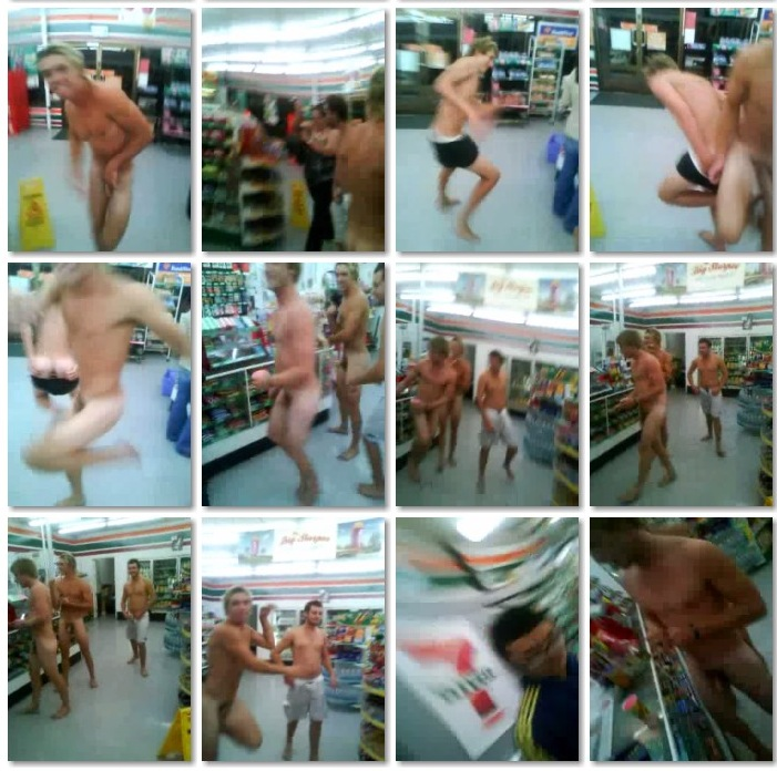 Aussie Lads go Nude Shopping at 7-11