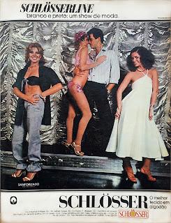 propaganda tecidos em algodão Schlösserline - 1979. Reclame anos 70