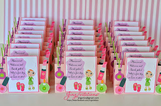 spa birthday invitations handmade