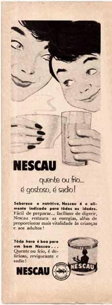 Propaganda do Nescau em 1952: indicação para consumo da bebida de forma quente ou fria.