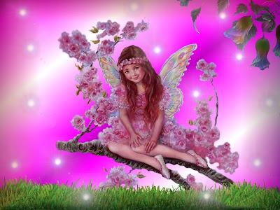 Hada fantastica sobre el campo de las flores