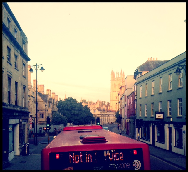 view from the top of a double decker bus in oxford