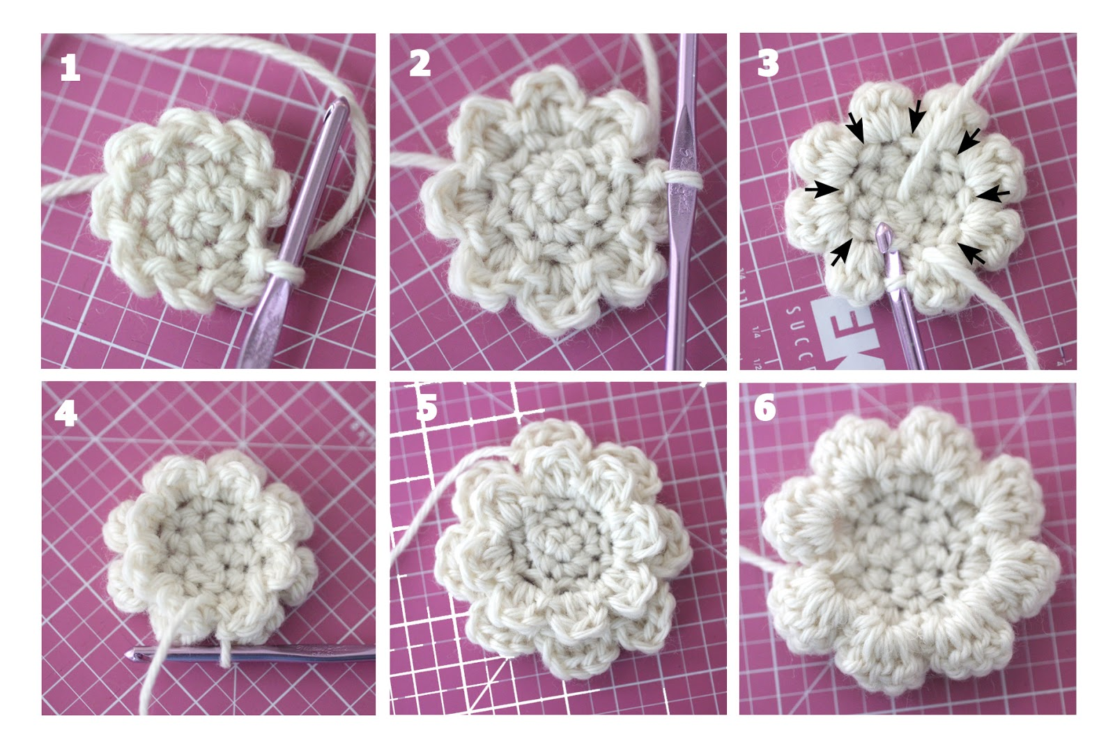 Crochet Rose Hair Clip Pattern : Crochet Hair Clips - Repeat Crafter Me