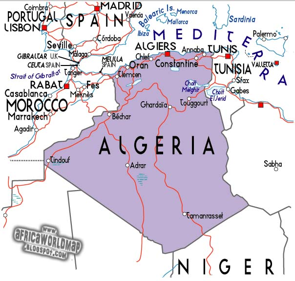 Algeria World Map Image and Information