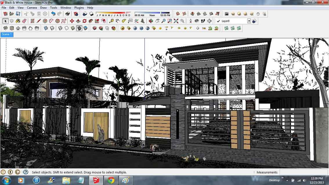 Sketchup texture free sketchup model black white house 8 for Free sketchup textures