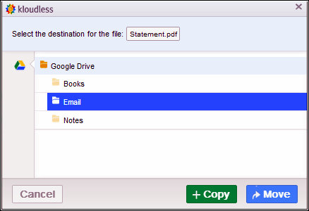 Selecting Google Drive folder to copy or move the Gmail attachment