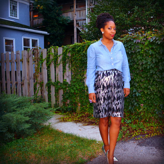 sequin skirt worn with denim shirt