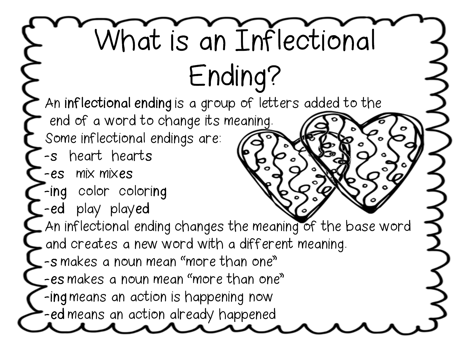 First Grade Wow I Heart Inflectional Endings – Inflectional Endings Worksheets