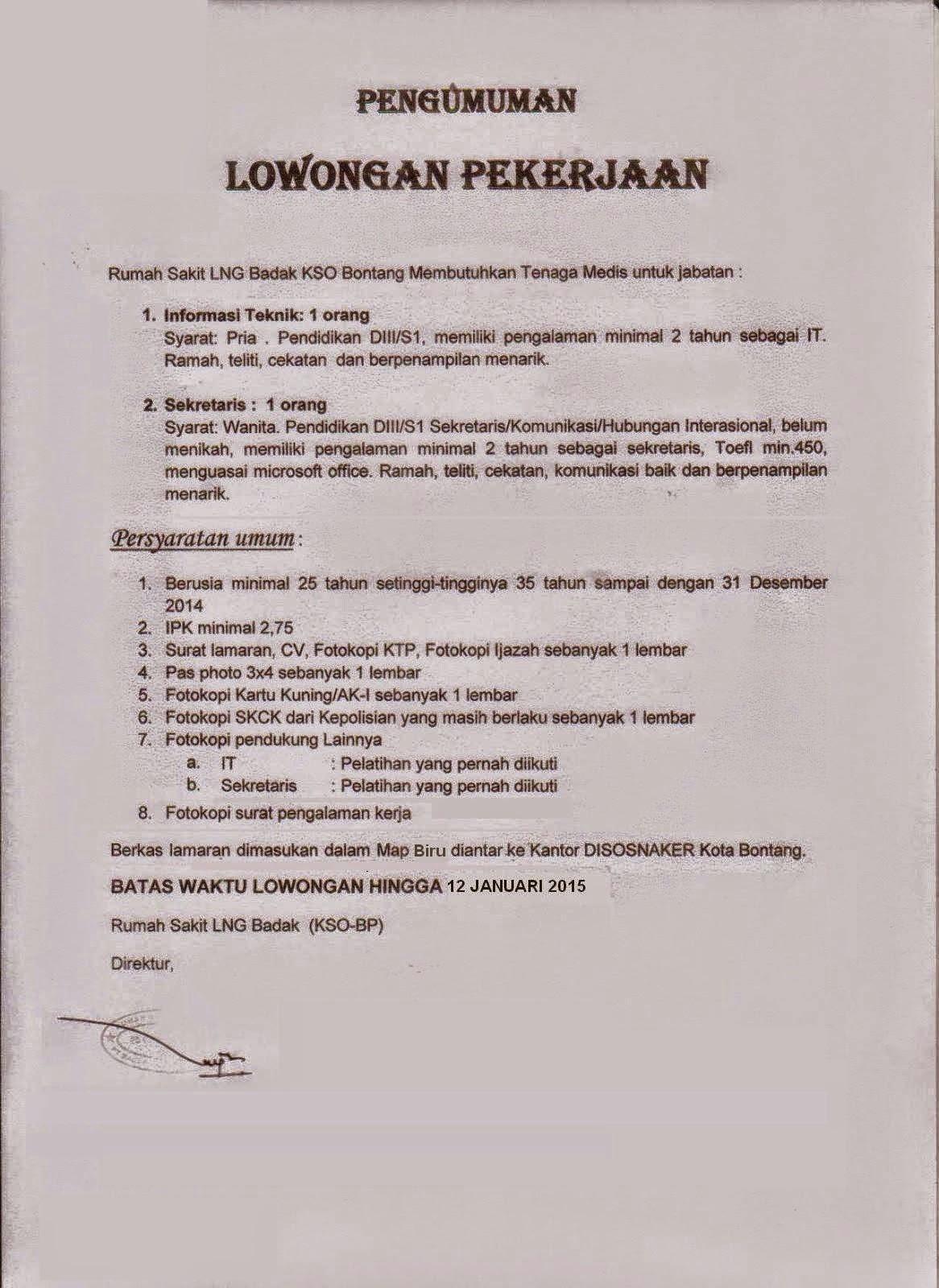 Lowongan Kerja Bontang Januari 2015 Terbaru : Rumah Sakit LNG Badak KSO Bontang