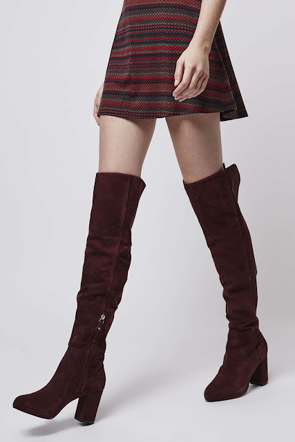 topshop red suede boots, burgundy suede over knee boots,