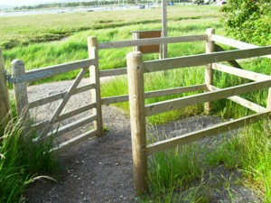 wheelchair travel, easy access walk gate, West Itchenor, Chichester, Sussex