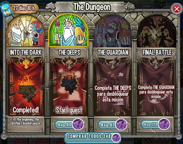 imagen del segundo segmento o segundo mini juegos de la isla calabozo de dragon city