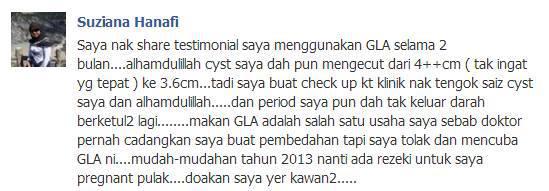 testimoni gla untuk cyst