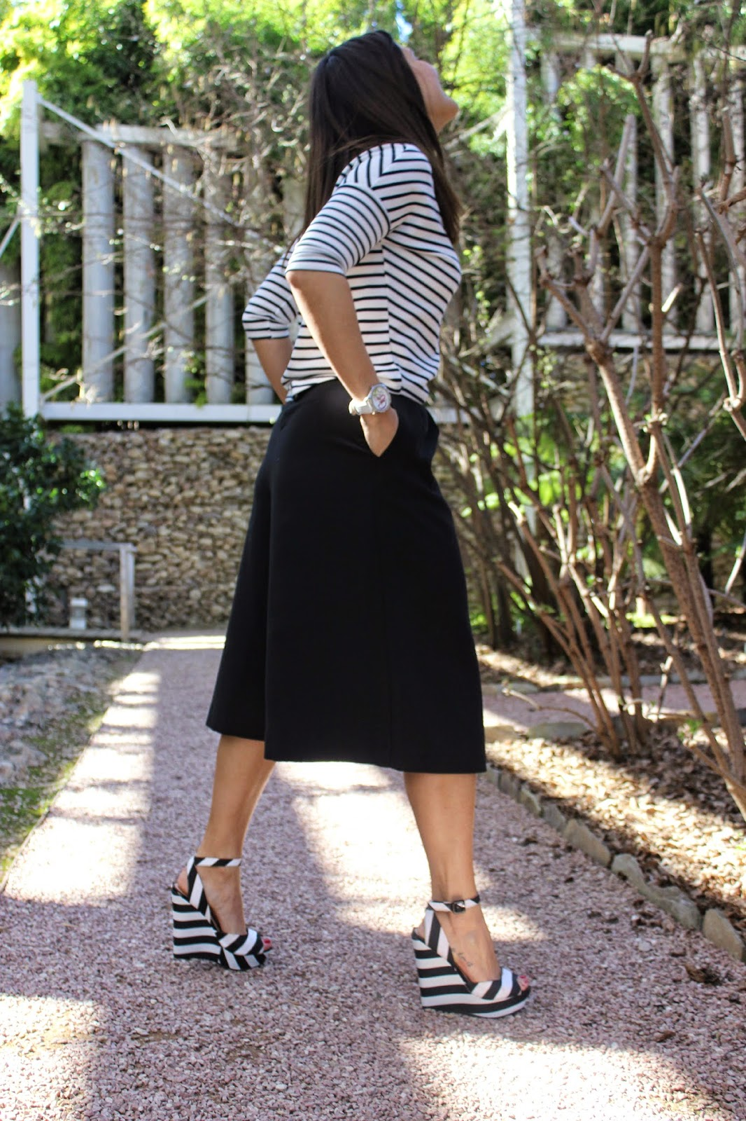 stripes street style, zara