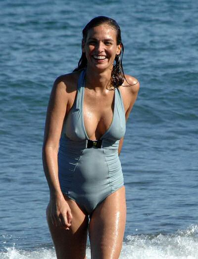 Ines Sastre wearing a one piece bathing suit