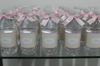 Água personalizada rosa com lacinho
