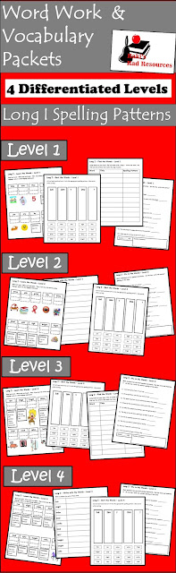 Vocabulary and Spelling Packets - Four Differentiated Levels - Long I - Free Download - Great for Literacy Centers