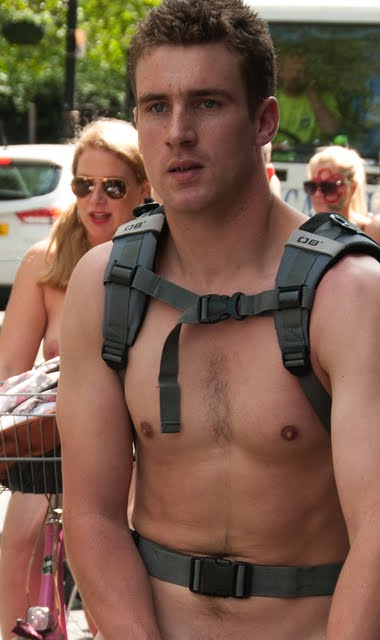 Hot guy on 2012 London Naked Bike Ride