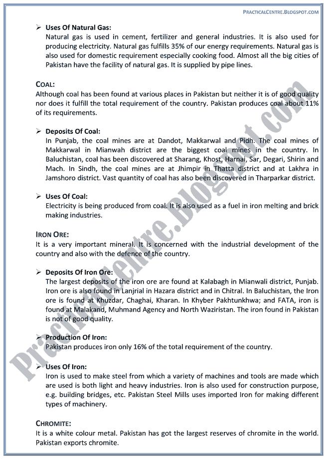 resources-of-pakistan-descriptive-question-answers-pakistan-studies-9th