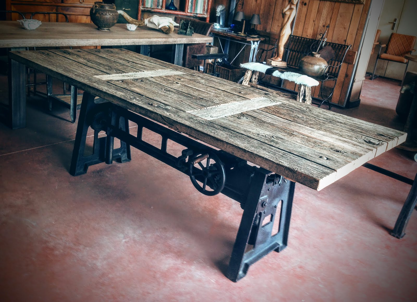 Table elevatrice bois for Table industrielle