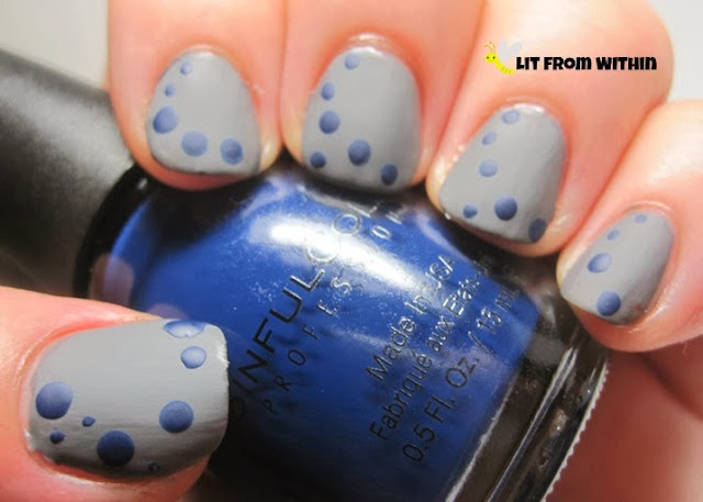 First set of dots in a matte dark blue - Sinful Colors Cold Leather