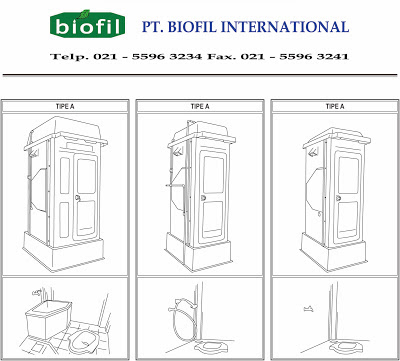 portable toilet fibreglass, flexible toilet, biofil asli, wc sementara, toilet proyek