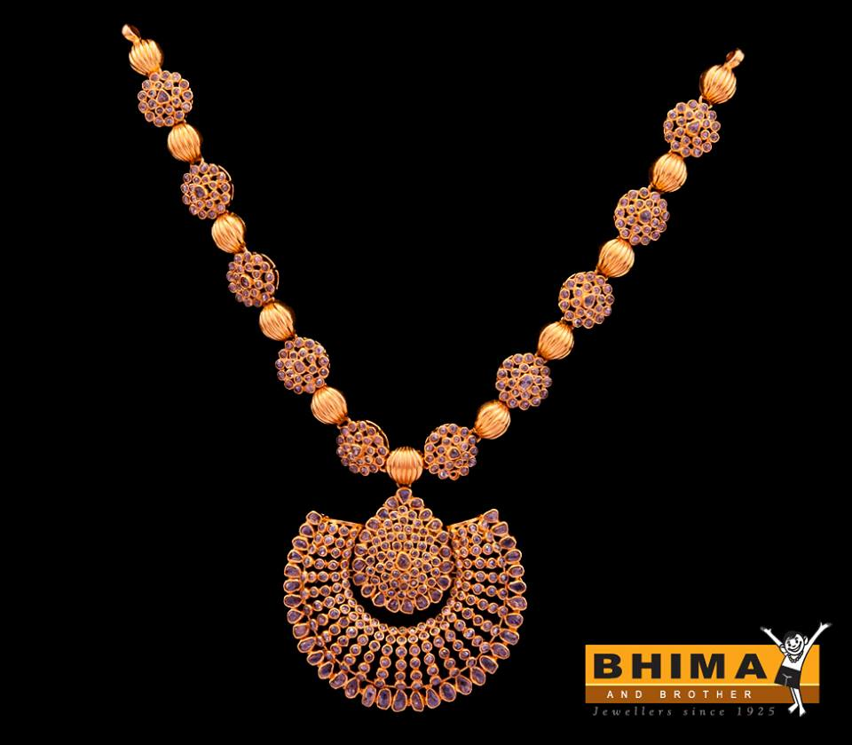 uncut diamond and gold balls necklace