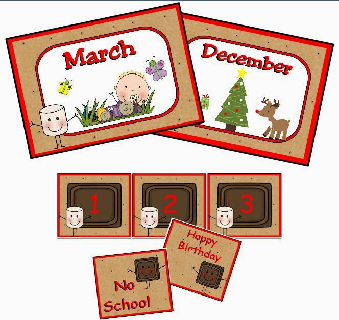 http://www.teacherspayteachers.com/Product/Smores-Calendar-Set-760389