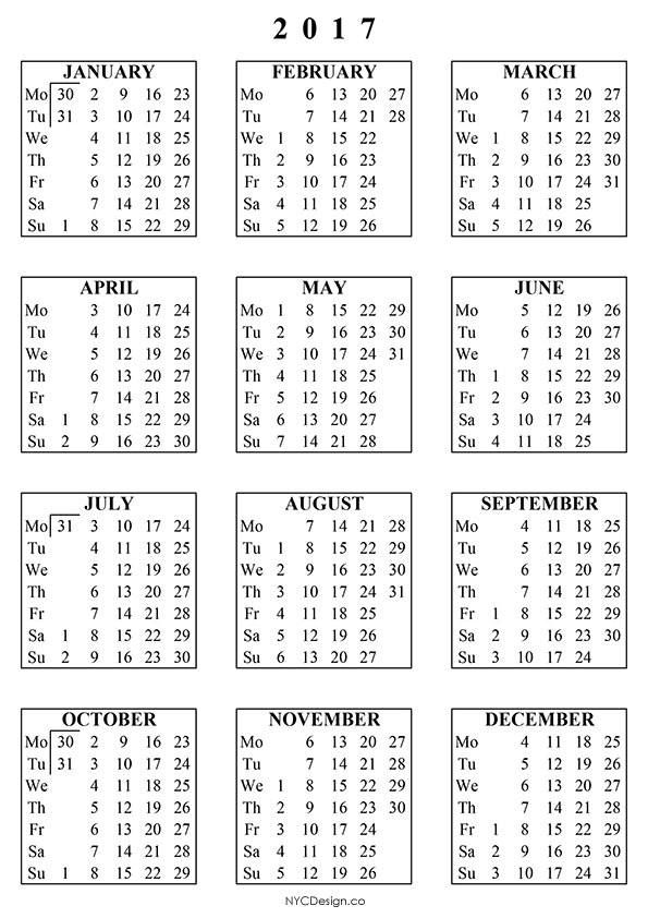 New York Web Design Studio, New York, NY: Free Printable Calendars ...