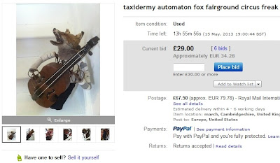 Taxidermy automaton fox fairground circus freak auction