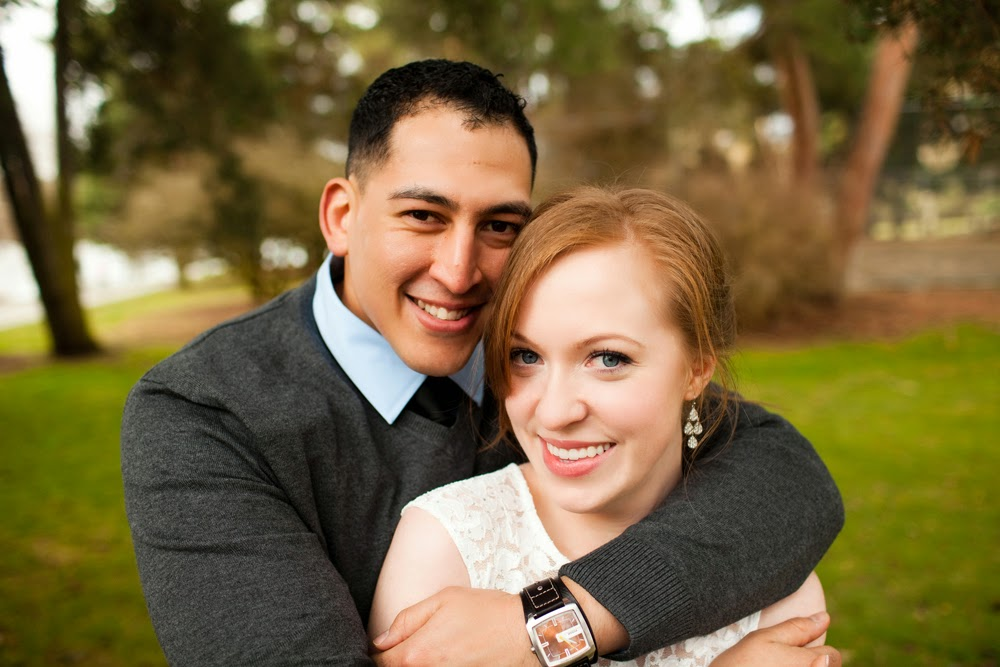 Christina and Johnny's engagement photo at Green Lake - Patricia Stimac, Seattle Wedding Officiant