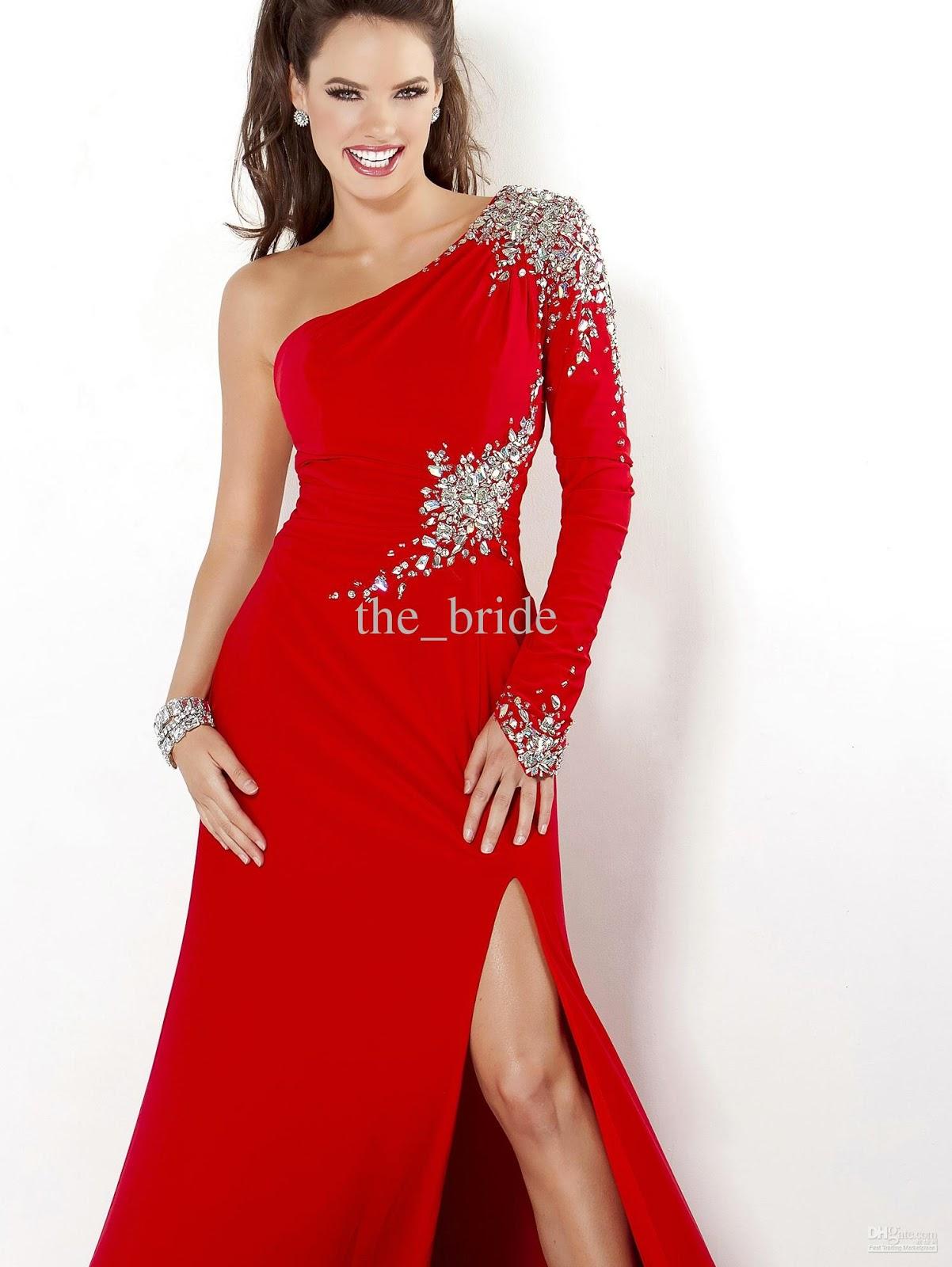 Women style women dresses fashion for One shoulder long sleeve wedding dress