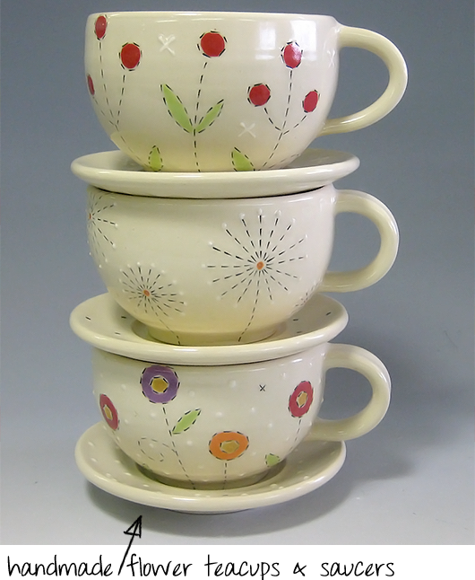 handmade flower teacups