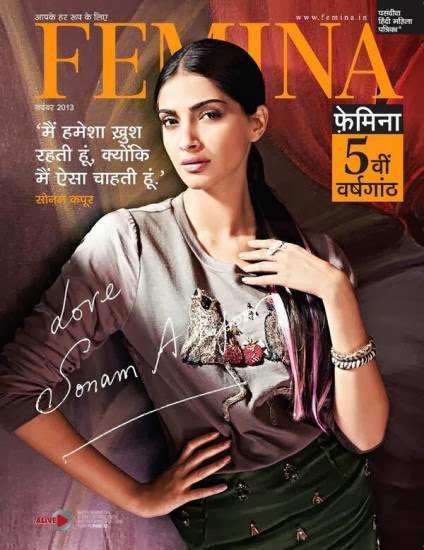 Sonam Kapoor on the cover of Femina Hindi - Nov 2013