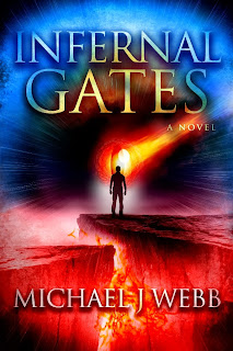 Infernal Gates. Man is shown standing near rift in Earth, with what looks like lava nearby.