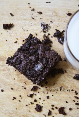 A beautiful mess surrounding an Oreo Overload Brownie