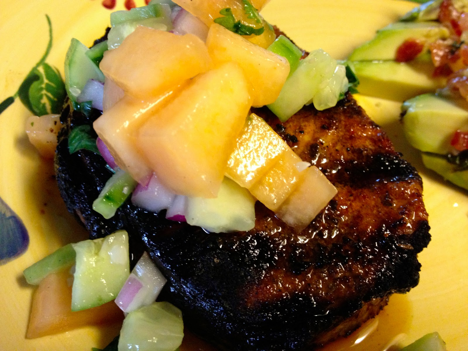 ... Pasta to Paleo: Spicy Grilled Pork Chops with Cucumber Melon Salsa