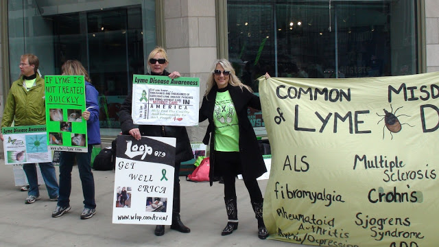 Lyme Protesters in front of the Tribune Towers