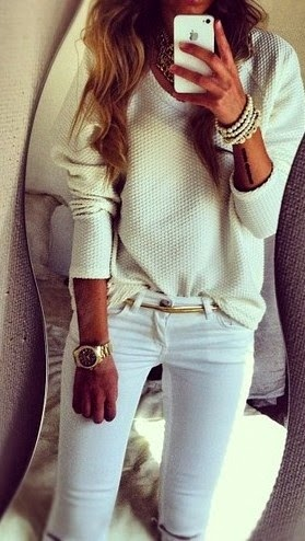 White Pants, Sweater And Bracelet