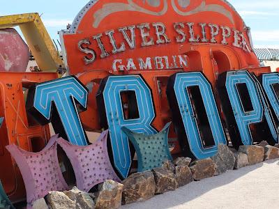 Neon Museum: Three Sign Together – Tropicana, Desert Inn, Silver Slipper.
